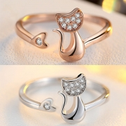 Cute Rhinestone Inlaid Cat Shaped Ring(The size is adjustable)