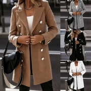 Fashion Solid Color Lapel Double Breasted Long Sleeve Woolen Thin Coat
