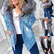 Fashion Faux Fur Spliced Hooded Long Sleeve Denim Coat