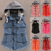 Fashion Contrast Color Hooded Vest