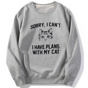 Cute Cat Letters Printed Long Sleeve Round Neck Sweatshirt