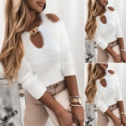 Sexy Off-shoulder Long Sleeve Chain Round Neck Solid Color Sweater