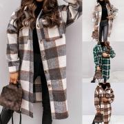 Fashion Long Sleeve PLO Collar Plaid Shirt Coat