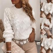 Fashion Long Sleeve Round Neck Beaded Sweater