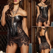 Sexy Backless Lace-up Lace Spliced PU Leather Corsets