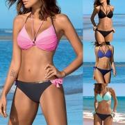 Sexy Backless Low-waist Push-up Halter Bikini Set
