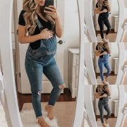 Casual Style High Waist Ripped Denim Overalls for Pregnant Woman