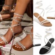 Fashion Rhinestone Inlaid Flat Heel Round Toe Lace-up Sandals