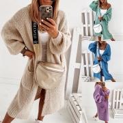 Fashion Solid Color Lantern Sleeve Loose Knit Cardigan
