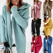 Fashion Solid Color Dolman Sleeve Hooded Loose Knit Cardigan