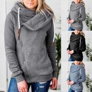 Fashion Solid Color Long Sleeve Oblique-zipper Sweatshirt Jacket