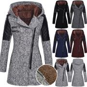 Fashion Long Sleeve Oblique Zipper Hooded Slim Fit  Coat