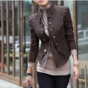 Elegant Classy Double Breast Solid Color Jacket Coat