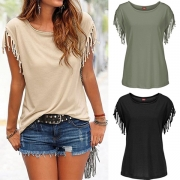 Casual Style Solid Color Round Neck Tassels Knotted T-shirt