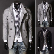 Fashion Solid Color Double-breasted Stand Collar Men's Woolen Coat
