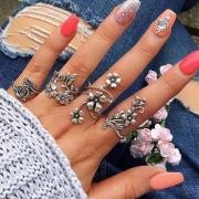 Retro Style Silver-tone Flower-shaped Ring Set 4 pcs/Set