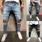 Fashion Side Pockets Ripped Slim Fit Man's Denim Pants