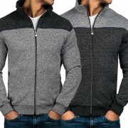 Fashion Contrast Color Long Sleeve Stand Collar Men's Sweatshirt Coat