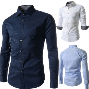 Fashion Long Sleeve POLO Collar Men's Plaid Shirt