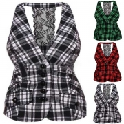 Sexy Backless Lace Spliced Single-breasted Plaid Vest(It falls small)