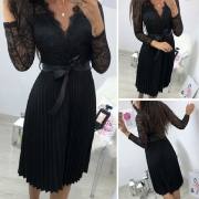 Sexy V-neck Long Sleeve Semi-transparent  Lace Spliced Pleated Dress