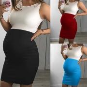 Fashion Contrast Color Round Neck Sleeveless Maternity Dress