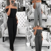 Sexy Off-shoulder Boat Neck Solid Color Jumpsuit