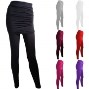 Fashion High Waist Solid Color Mock-two-piece Leggings