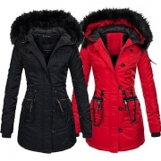 Fashion Solid Color Faux Fur Spliced Hooded Slim Fit Coat(It falls small)