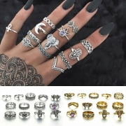 Retro Style Gold/Silver-tone Alloy Ring Set 13 pcs/Set
