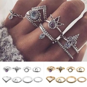 Bohemian Style Rhinestone Inlaid Alloy Ring Set 8 pcs/Set