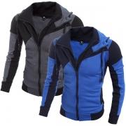 Fashion Contrast Color Long Sleeve Hooded Double Zipper Men's Sweatshirt Coat