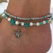 Fashion Starfish Turtle Pendant Dual-layer Beaded Anklet