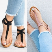Simple Style Solid Color Flat Heel Thong Sandals
