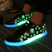 Fashion Skull Head Printed Flat Heel Lace-up Glowing Couple Sneakers