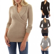 Fashion Solid Color Long Sleeve V-neck Slim Fit Sweater