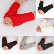 Fashion Solid Color Fingerless Knit Long Gloves