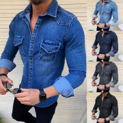 Fashion Long Sleeve POLO Collar Slim Fit Man's Denim Shirt