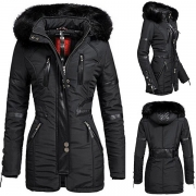Fashion Long Sleeve Faux Fur Spliced Hooded Slim Fit Warm Coat