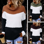 Fashion Contrast Color Long Sleeve Cowl Neck Sweater