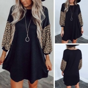 Fashion Leopard Spliced Long Sleeve Round Neck Loose Dress(It falls large)