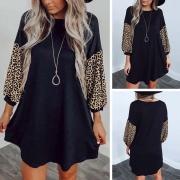 Fashion Leopard Spliced Long Sleeve Round Neck Loose Dress(It falls large)