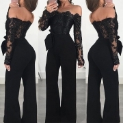 Sexy Off-shoulder Boat Neck Long Sleeve High Waist Lace Spliced Jumpsuit