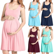 Fashion Solid Color Sleeveless Round Neck Maternity Dress