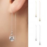 Fashion Rhinestone Pendant Long Chain Earrings Ear-line