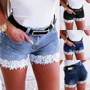 Fashion High Waist Lace Spliced Hem Slim Fit Denim Shorts