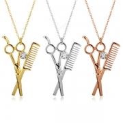 Creative Style Scissors & Comb Pendant Necklace
