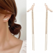 Fashion Rhinestone Inlaid Long Tassel Pendant Earrings