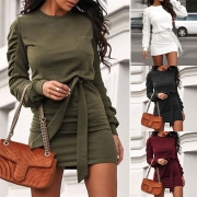 Fashion Solid Color Long Sleeve Round Neck Slim Fit Dress with Waist Strap(The size runs small)
