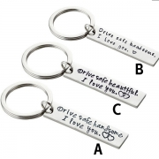 Fashion Letters Engraved Couple Key Chain
